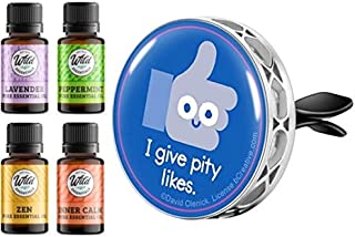 Wild Essentials - I Give Pity Likes - Enamel Aromatherapy Car Vent Clip Air Freshener Essential Oil Diffuser, 8 Color Pads...