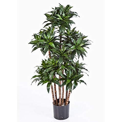 artplants.de Set 'Dracaena Fragrans sintética + Spray de protección UV' - Drácena de plástico Domingo, Troncos Naturales, Verde, 120cm