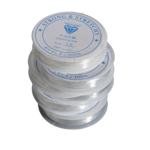 The little button shop fil pour la fabrication de bijou, élastique, transparent, disponible en 6 tailles, 1mm