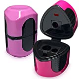 Rilsto Colored Pencil Sharpener Manual – 2 Pack , 3 Hole Pink Color Handheld Pencil Sharpener with Cover , Fine Point for #2 Regular Jumbo Color Pencils , Art Office School Supplies for Kids & Adults