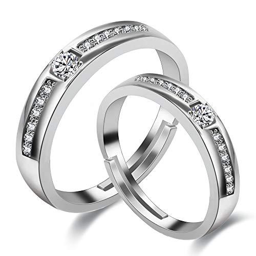 Uloveido 2Pcs Anillos de aniversario de bodas para parejas de hombres y mujeres para el regalo de San Valentín, anillos de promesa chapados en oro blanco con diamantes creados LB018