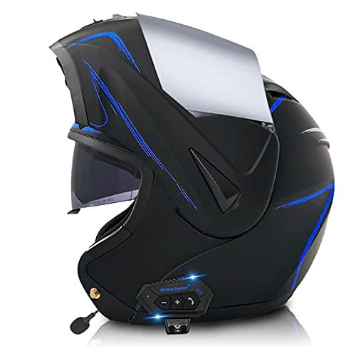 ETScooter Bluetooth Casco Moto Modular ECE Homologado, Casco de Moto Integral para Mujer Hombre Adultos con Anti Niebla Doble Visera, Casco Integrado con 500mA Auriculares Bluetooth