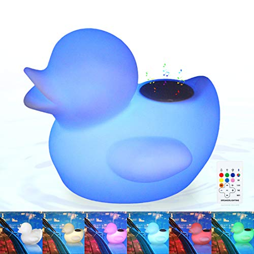 Glowing Floating Pool Lights Bluetooth Speaker with Remote Control Wireless Rechargeable LED Duck Pool Floating Light IP67 with 16 Colors LED Lights