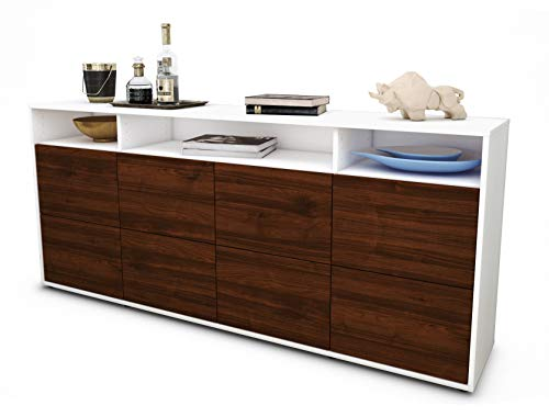 Stil.Zeit Sideboard Evita/Korpus Weiss matt/Front Holz-Design Walnuss (180x79x35cm) Push-to-Open Technik