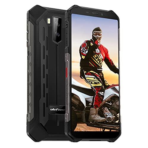Telephone Portable Incassable Android 10, Octa-Core, 64Go+4Go, Smartphone Débloqué Pas Cher 4G 5000mAh, 5.5 Pouces, 13MP+5MP Dual SIM NFC Face ID E-Boussole GPS, Antichoc Étanche Ulefone Armor