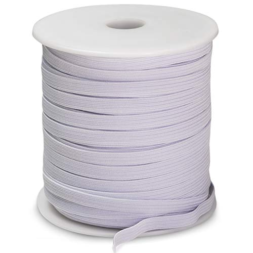 Elastic Bands for Sewing, Mask Elastic, White Elastic, Black Elastic, Elastic for Sewing, 1/4 Inch Elastic for Sewing, Elastic Bands for Masks by Pxcel Ltd, 75 Yards in Sturdy Plastic Spool