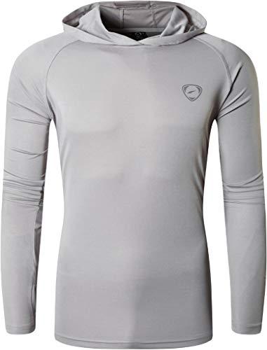jeansian Hombre UPF 50+ UV Proteccion Solar Sudadera con Capucha Manga Larga Senderismo Correr Pesca Camiseta Tshirt LA271 Lightgray M