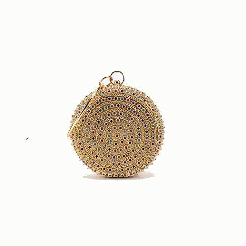 L-sister Diamante de la Cena de la Cena de Las Mujeres, el Nuevo Embrague de Piedras Preciosas de Colores con la Pulsera Estilo único (Color : Gold, Size : 15.5 * 5 * 16cm)
