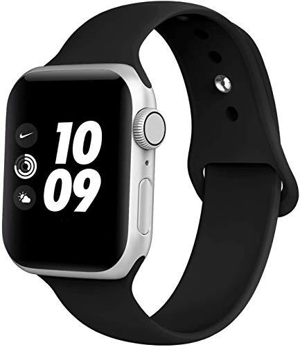 Adepoy Cinturino di ricambio per Apple Watch, impermeabile, in silicone, per iWatch 44 mm 38 mm 42 mm 40 mm Series 5/4/3/2/1, Nero , 38mm/40mm M/L