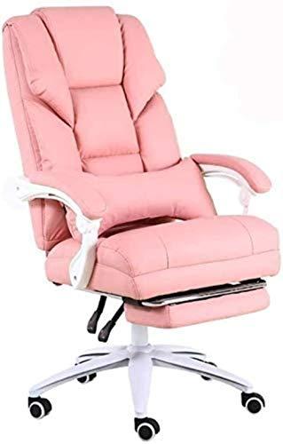HOLPPO-Desk Silla Silla de Oficina en casa de Juegos en Vivo Silla reclinable Silla 170 ° Diseño Confort Respaldo Jefe de Levantamiento de Peso de 200 kg sillas de Escritorio (Color : Pink)