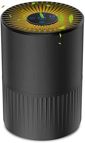 Purificatore d'Aria con Filtro HEPA, Filtrazione a 4 Strati, Purificatore d'Aria Silenzioso per la Casa con 3 velocità di Ventilazione e Aromaterapia Fonction, Timer e Luce Notturna Opzionale - Nero