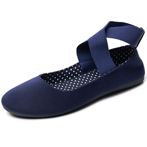 Alpine Swiss Peony Womens Ballet Flats Elastic Ankle Strap Shoes Navy 10 M US
