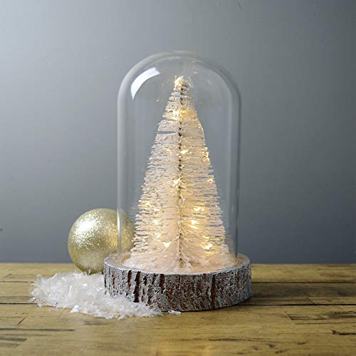 MARTHA STEWART Lighted White Christmas Tree in Glass Cloche, Warm White Lights