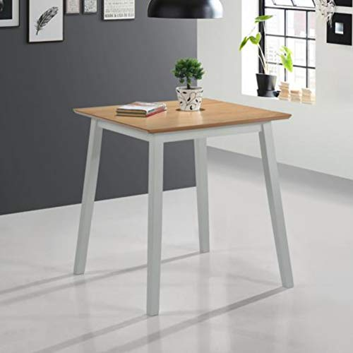 GOLDFAN Small Dining Table Wood Kitchen Table Square Table for Dining Room 70cm, Grey(Only Table)