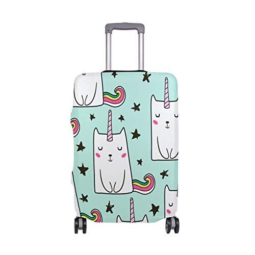 Orediy Katzen-Einhorn mit Sternenaufdruck, elastisch, Reisekoffer, Koffer-Schutz (ohne Koffer) S, M, L, XL, Größe, Multi (Mehrfarbig) - suitcasecover