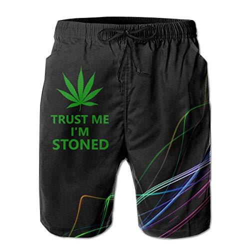 LarissaHi Vertrauen Sie Mir, ich Bin Stoned Weed Leaf für Männer Boardshorts Badehose Beachwear Workout Beach Trunks XL
