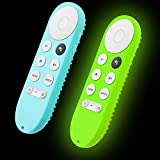 Glow Remote Cover Replacement for Google Chromecast TV 2020 Release Voice Remote, 2-Pack Silicone Protective case with Lanyard (Mint Green and Glow Green)