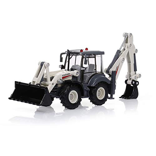 ELVVT 01.50 Mini-Legierung Diecast Bagger Fahrzeug Spielzeug 4-Rad-Auto-Zwei-Wege-Gabelstapler Bulldozer Baggerlader-LKW-Modell for Kinder Weihnachten Geburtstags-Geschenk