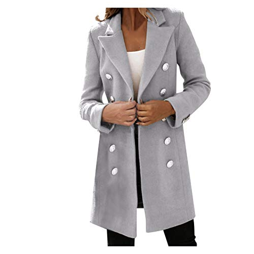 Women Elegant Notched Collar Double Breasted Wool Blend Over Coat Trendy Outwear Classic Slim Winter Pea Coat Gray