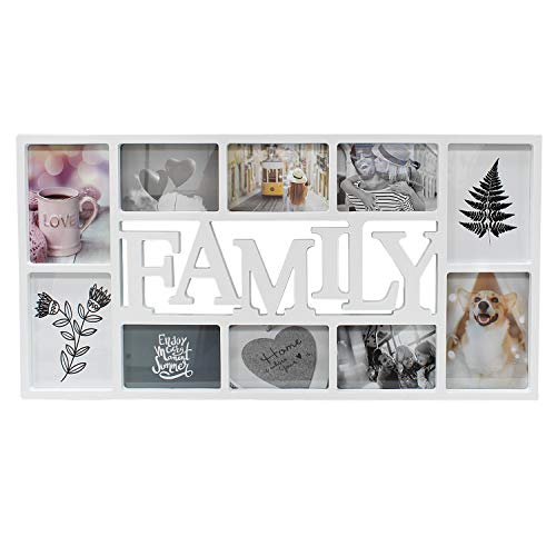 DANIEL JAMES Housewares 3D Family 10 Photo Frame Collage Aperture Black White Picture Wall Hanging Album (White)