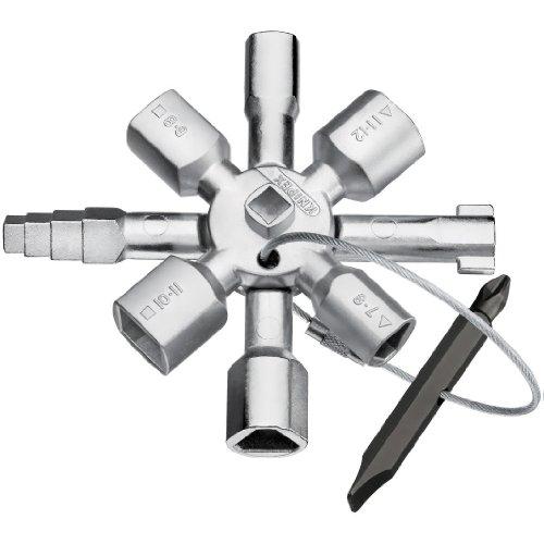 Knipex 1101 Tools 00 11 01 Twin Key Universal Schaltschrank Schlüssel, Chrom