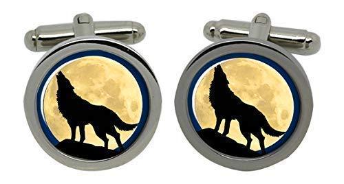 Boutons de manchette en forme de loup hurlant dans une boîte cadeau