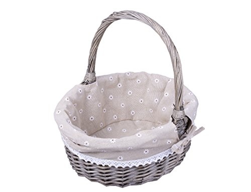 BASIC HOUSE High Handle Wicker Shopping Baskets collection Gift Hamper with Fabric Lining (1 pc, Grey)