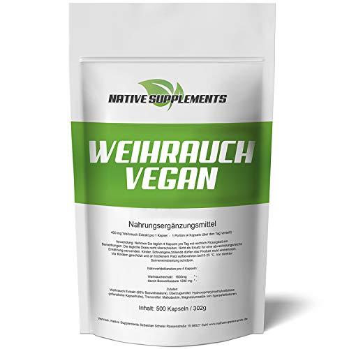 Weihrauch-Kapseln Vegan - XXL Bulk - 500 Stück - Hochdosiert, 1600mg je Tagesdosis - 100% Indischer Weihrauchextrakt, Boswellia Serrata 80% Boswellia-Säuren für Veganer & Vegetarier geeignet