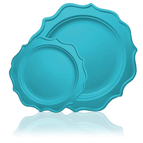 Tiger Chef 96-Pack Turquoise Color Round Scalloped Rim Disposable Plastic Plate Set for 48 Guests Includes 48 10-Inch Dinner Plates, 48 8-Inch Salad Plates - BPA-Free