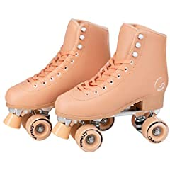 RETRO SKATES — Cute quad roller skates feature a 1-inch heel for a fun, vintage feel. ANKLE SUPPORT — Structured PVC boot gives plenty of ankle support for beginners learning to skate. INDOOR/OUTDOOR USE — 83A urethane gives plenty of grip on both in...