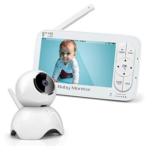 Babyphone mit Kamera, 5 Zoll Babyphone, 1280 x 720P HD Display, Gegensprechfunktion, Schlaf-Modus, Nachtsicht, Temperatur, Energiesparmodus, Schlaflied, Zoom Funktion, 300m Reichweite