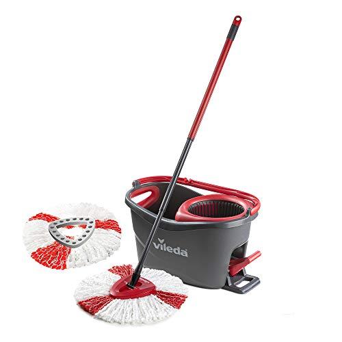Vileda Easy Wring y limpia Turbo Juego de fregona de microfibra y cubo con extra 2en 1Recambio, color rojo