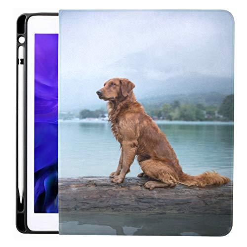 Funda para iPad Pro 12.9 2020 y 2018 con portalápices Dos Perros posando Juntos Lake Obedient Smart Cover Funda para iPad, admite Carga de lápiz de Segunda generación, Funda para iPad Pro 12.9 2020 c
