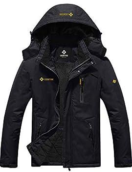 GEMYSE Men s Mountain Waterproof Ski Snow Jacket Winter Windproof Rain Jacket  Black,Medium