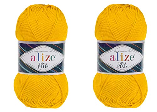 Alize Diva Plus Silk and Mercerized Effect 100% Microfiber Acrylic 3 DK & Light Worsted Crochet Yarn Lot of 2 skeins 200gr 484yds (548 Yellow)