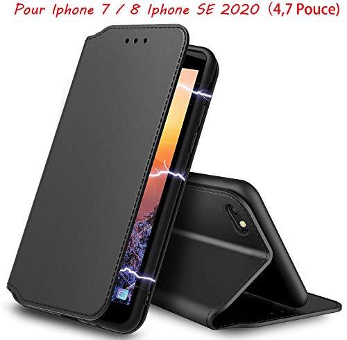 AURSTOR Etui Coque pour Iphone Se 2020,Iphone 8,Coque Iphone 7,Protection Housse en Cuir PU Portefeuille,[Ranges...