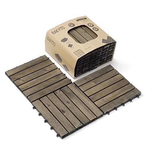 Wood Interlocking Flooring Tiles (Pack of 10, 12