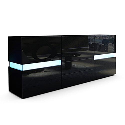 Vladon Buffet Commode Flow, Corps en Noir Mat/Façades en Noir Haute Brillance avec l'éclairage LED