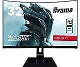 iiyama G-Master Red Eagle GB3266QSU-B1 Curved 80cm (31,5') VA LED-Monitor WQHD (HDMI, DisplayPort, USB2.0/3.0) 1ms Reaktionszeit, 144Hz, FreeSync Premium, Höhenverstellung, schwarz
