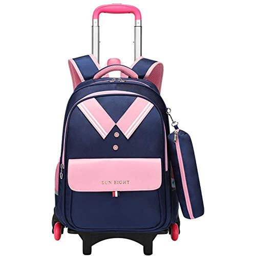QW Girls Rolling Backpack with Wheels School Bags, with Pencil Case