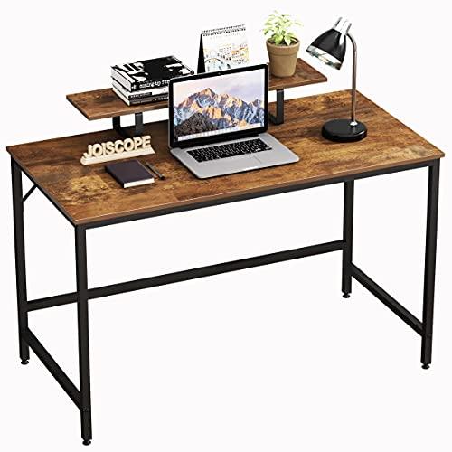 JOISCOPE Computertisch,Laptop-Schreibtisch mit Ablagefach,Holz und Metall,Arbeitstisch für das Heimbüro,120 x 60 cm(Eiche Vintage-Ausführung)
