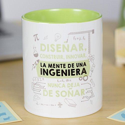 La mente es Maravillosa - Taza Frase y Dibujo Divertido (Diseñar, Construir, innovar, la Mente de una ingeniera Nunca Deja de soñar) Regalo INGENIERA