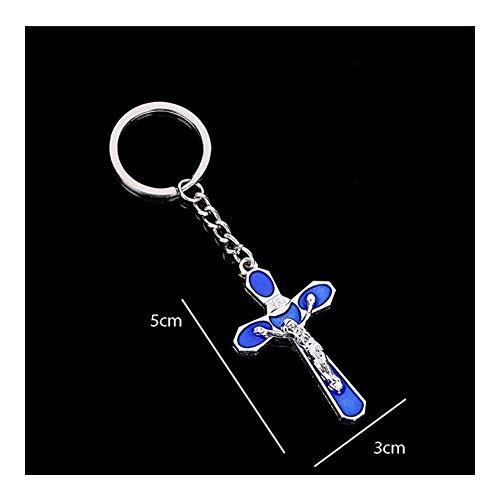 LSBXWL Kreuz Jesus St. Christian Blau Jesus-Kreuz Schlüsselanhänger St. Kreuz Schlüsselanhänger Geschenk (Color : Y04203)