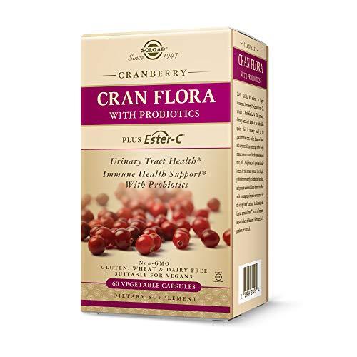 Solgar CRAN FLORA w/ Probiotics Plus Ester-C, 60 Veg. Caps - Support Urinary Tract, Immune & Intestinal Health - Cranberry Powder for Digestion - Non GMO, Vegan, Gluten Free, Dairy Free - 30 Servings