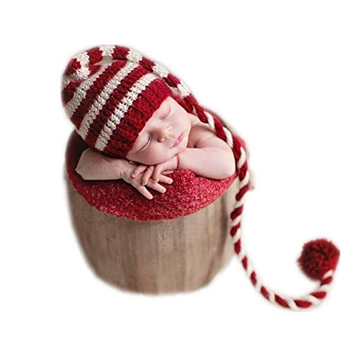 Newborn Baby Photo Props Outfits Crochet Christmas Long Tail Hat for Girls Photography Shoot