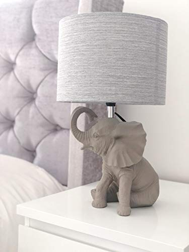 CGC Grey Resin Elephant Table Lamp with Fabric Grey Shade Coffee Bedside Table Animal Light