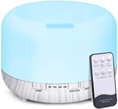 Idea Regalo - 500ml Diffusore di Oli Essenziali con Telecomando, Tenswall Ultrasuoni Umidificatore Diffusore di Aromi con 7 Colori LED per Yoga, Spa, Ufficio, Casa