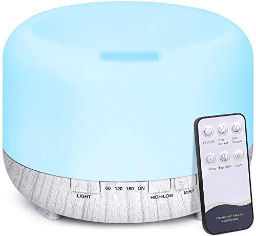 Tenswall 500ml Diffuseur d'Huiles Essentielles, Télécommande d'humidificateur Ultrasonique avec 14 Couleurs Lumières LED pour la Maison, Yoga, Bureau, SPA, Chambre