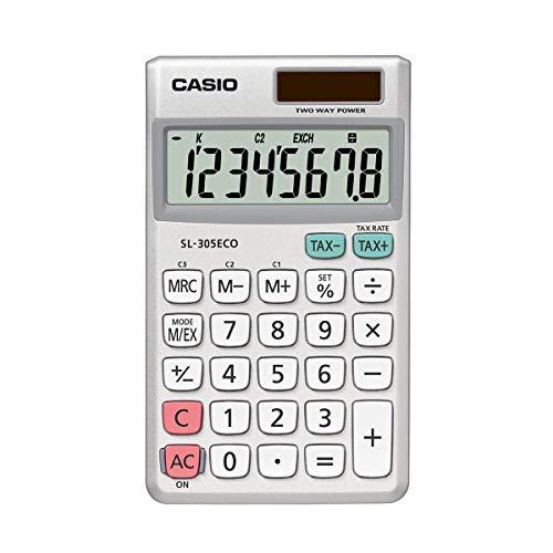 CASIO Taschenrechner SL-305ECO, 8-stellig, umweltfreundlich, Steuerberechnung, Aluminiumfront, Solar-/Batteriebetrieb