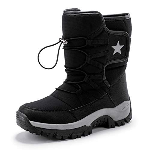 QCBC Unisex Botas de Nieve Caliente de Empuje de Mitad de la Pantorrilla Botas Impermeables Antideslizantes Botas de Invierno Zapatos Gruesos de la Plataforma del Cuero Calientes,39 EU